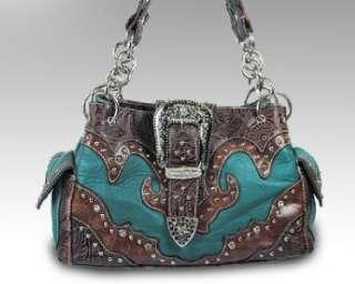 Western Cowgirl Rhinestone Buckle Tooled Shoulder Handbag Purse