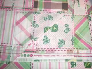 John Deere Tractor Pink Plaid Patchwork Quilt Cotton Fabric, BT½YD