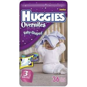 Huggies Overnites Diapers, Size 3, 36 Count Health