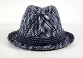 True Religion Jeans STRIPED Straw Fedora HAT Blue black