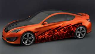 CAR VINYL GRAPHICS CARBON FLAMES WRAP TRUCK 057 1