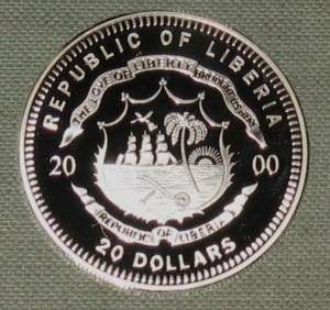 2000 LIBERIA $20 PROOF SILVER COIN 6423 ASW D29