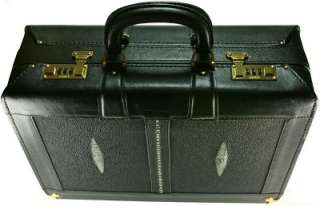 MENS GENUINE BLACK STINGRAY LEATHER ATTACHE CASE PRSTEB01 G