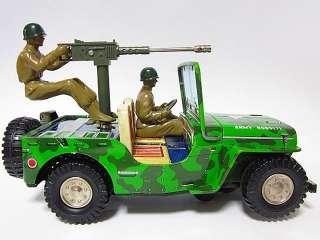ASAKUSA Army War Tank COMBAT Jeep Truck Car Battery OP Tin Toy
