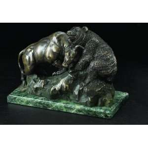 Bull & Bear Fight, Bronzed Metal on Marble Base