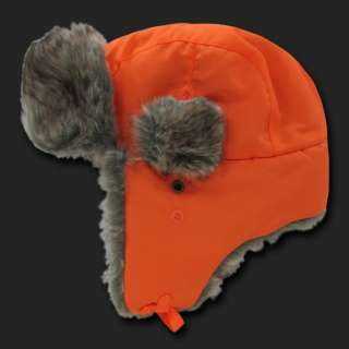 Orange Aviator Bomber Faux Fur Winter Ski Trooper Trapper Ear Flap Hat