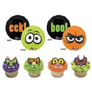 24 Scary Monster Eyes Cupcake Rings with 4 Creepy Eyes