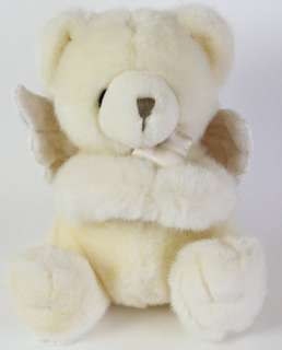 Russ Berrie Baby Plush White Prayer Teddy Bear Angel Wing Cross