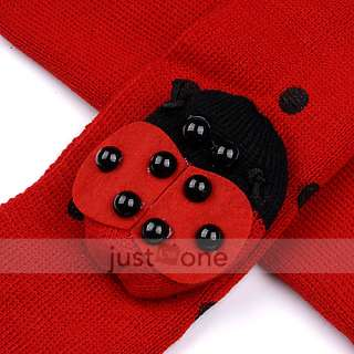 Red Cute Baby Toddler Boys Girls Ladybug Warm Beanie Hat Cap + Scarf 2
