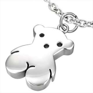 Stainless Steel Silver Tous Style Bear Pendnt Charm 1c
