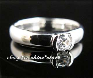 GENUINE REAL 9CT SOLID WHITE GOLD WEDDING LADY SIMULATED DIAMONDS RING