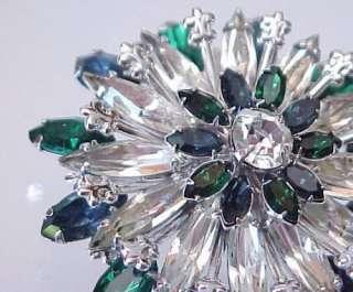 Vintage Blue Green & Crystal Rhinestone Flower Brooch
