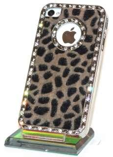 Designer iPhone 4 S LUXUS STRASS BLING LEOPARD FELL chrom Cover hard