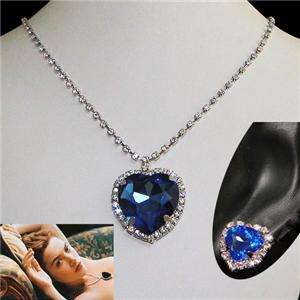 Titanic Heart of Ocean Necklace Set Austrian Rhinestone Crystal