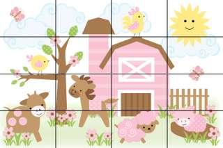 BROWN PINK BARNYARD FARM ANIMALS GIRL NURSERY BABY WALL MURAL STICKERS