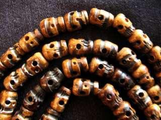 Dark Fine Hand Carved Yak Bone 108 SKULL Tibetan MALA
