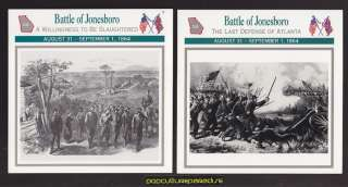BATTLE OF JONESBORO GEORGIA 1864 U.S. CIVIL WAR 2 CARDS