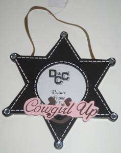 Pink Cowgirl Up Hanging Star Shape Photo Frame Holds 3x3 Photo Wood