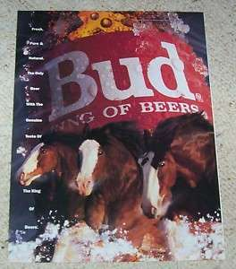 1992 Budweiser Bud King Beer Clydesdale horses PRINT AD