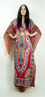 Ethnic DASHIKI Caftan BELL SLEEVE India Hippie MAXI Dress OS