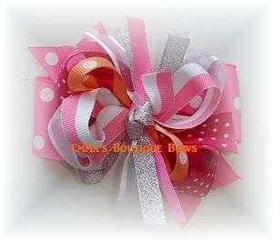 M2MG Boutique Hairbow Hot Pink Silver Peach fushia