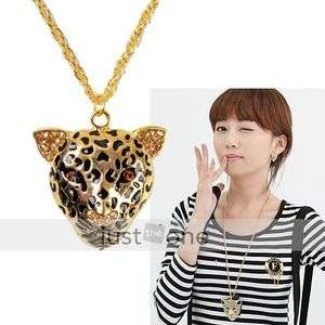 Retro Style Fashion Women Lady Girl Tiger Head Pendant Long Necklace