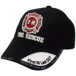 Fire Rescue Department Hat Cap Black Red White First In Last
