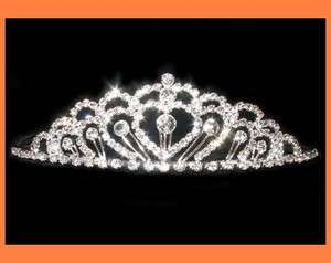 PETITE CLEAR RHINESTONE TIARA COMB CROWN BRIDAL PARTY WEDDING PROM