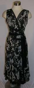 Rickie Freeman TERI JON Black Floral Print Silk Dress Size 6