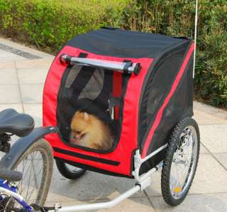 Red Pet Bike Trailer Dog Cat Carrier Bicycle