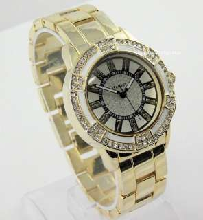 LADIES HENLEY GOLD TONE BRACELET WATCH CRYSTAL SPARKLE