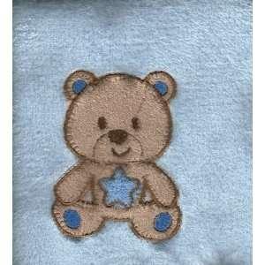 Boys Teddy Bear Blue Plush Baby Crib Nursery Blanket Applique