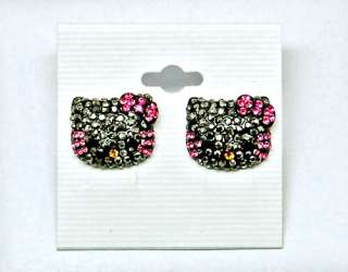 New  hello kitty black face pink crystal bow tie convex stud earring