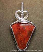 Natural RED CORAL Sterling Silver WIRE WRAP PENDANT