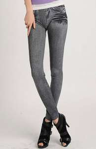 Stretch Black Denim Skinny Pajama Jeans Look Jeggings Leggings Tights