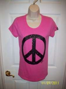 VICTORIAS SECRET PINK BLACK GLITTER PEACE SIGN T SHIRT MEDIUM