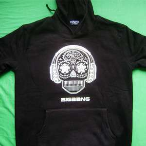 POP BIG BANG BLACK HOOD T SHIRT GD&TOP SKULL HOODY