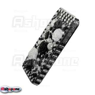 Black 3D Rose Bling Crystal Hard Case for iPhone 4 4G