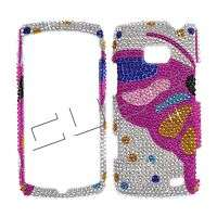 Pink BUTTERFLY Bling DIAMOND Case 4 LG ALLY VS740 Cover