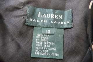 RALPH LAUREN 100% SILK CHIFFON BLACK / BEIGE POLKA DOTS DRESS sz 10