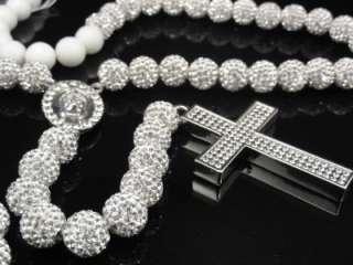 Mens Womens Swarovski Crystal Shamballa Rosary Chain Necklace New 28