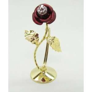 24k Gold Plated Standing Mini RED Rose Swarovski Crystal