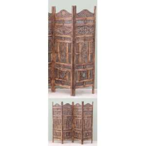 HARDWOOD ROOM DIVIDER WITH SMALL & BIG FLOWER DESIGN