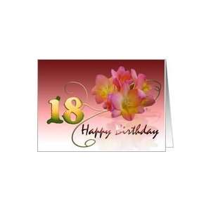 Happy 18th Birthday Oleander Flower curly coil pink flower