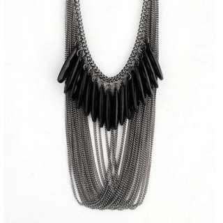Fashional Retro Style Black Synthetic Gemstone Multilayer Bib Necklace