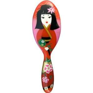 Womans Japanese Geisha Girl Hair Brush, Pink & Red Hairbrush Beauty