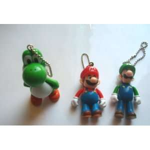 Super Mario Bros. Yoshi Mario Luigi Mascot Key Chain Set