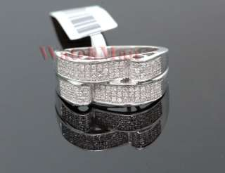 Mens 10K White Gold Diamond Cocktail Ring SVR 4824