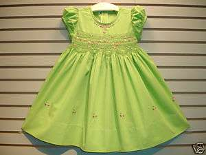 NB 3M 6M 9M GREEN Boutique Design Hand Embroidered Smocked Dress NEW