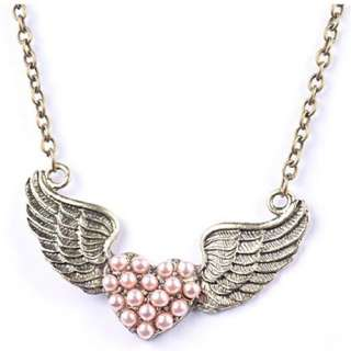 Fashion Hollow Out Retro Alloy Love Heart Angle Wings Necklace Pendant